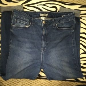 F21 cropped distressed skinny jeans
